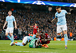 Manchester City's Ederson tussles with Liverpool's Sadio Mane during the Champions League Quarter Final 2nd Leg match at the Etihad Stadium, Manchester. Picture date: 10th April 2018. Picture credit should read: David Klein/Sportimage