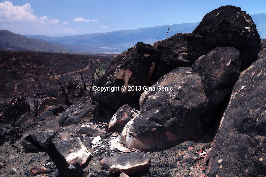 Granite boulders in Apple Canyon became so hot the surface cracked off from the Mountain Center fire. Path on left leading towards Lake Hemet. July 23, 2013.