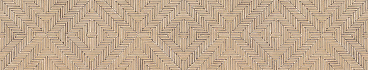 "7 11/16"" Rattan border, a hand-cut and tumbled mosaic shown in Lagos Gold, is part of the Tissé® collection for New Ravenna."