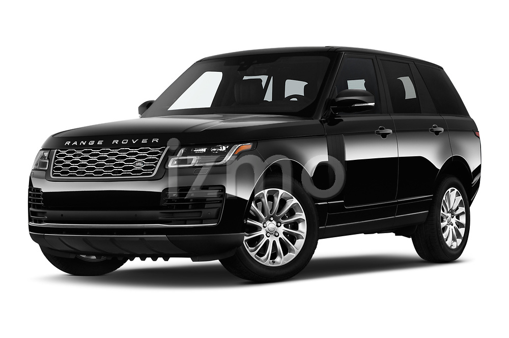 Stock pictures of low aggressive front three quarter view of a 2019 Land Rover Range-Rover HSE 5 Door SUV