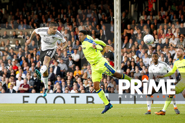 Aleksander Mitrovic of Fulham heads on goal during the Sky Bet Championship play off semi final 2nd leg match between Fulham and Derby County at Craven Cottage, London, England on 15 May 2018. Photo by Carlton Myrie / PRiME Media Images.