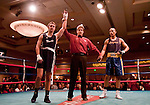 February 3, 2012:   Nevada boxer Alex Flangas, left, won his match by decision over Cal boxer Robert Watts in the 175 pound weight class match held at the Eldorado Convention Center on Friday night in Reno, Nevada.