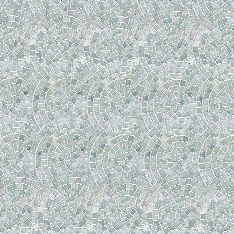 Fishscales, a hand-cut stone mosaic, shown in polished Ming Green.