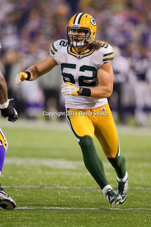 Green Bay Packers linebacker Clay Matthews (52) plays defense during a Week 7 NFL football game against the Minnesota Vikings on October 23, 2011 in Minneapolis, Minnesota. The Packers won 33-27. (AP Photo/David Stluka)