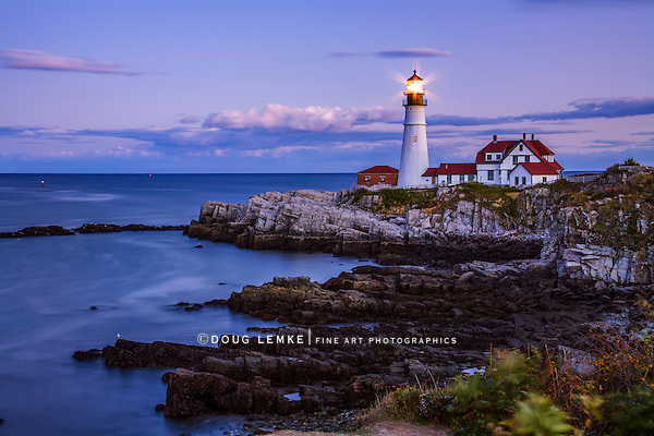The Benevolent Sentinel, The Portland Head Light After Sunset, Portland Maine, USA