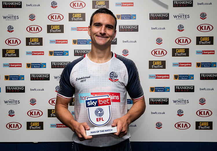 Bolton Wanderers' Jack Hobbs with his Sky Bet man of the match award <br /> <br /> Photographer Andrew Kearns/CameraSport<br /> <br /> The EFL Sky Bet League One - Bolton Wanderers v Blackpool - Monday 7th October 2019 - University of Bolton Stadium - Bolton<br /> <br /> World Copyright © 2019 CameraSport. All rights reserved. 43 Linden Ave. Countesthorpe. Leicester. England. LE8 5PG - Tel: +44 (0) 116 277 4147 - admin@camerasport.com - www.camerasport.com