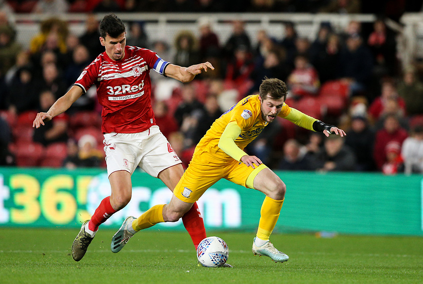 Preston North End's Tom Barkhuizen goes down in the area under a challenge from Middlesbrough's Daniel Ayala<br /> <br /> Photographer Alex Dodd/CameraSport<br /> <br /> The EFL Sky Bet Championship - Middlesbrough v Preston North End - Tuesday 1st October 2019  - Riverside Stadium - Middlesbrough<br /> <br /> World Copyright © 2019 CameraSport. All rights reserved. 43 Linden Ave. Countesthorpe. Leicester. England. LE8 5PG - Tel: +44 (0) 116 277 4147 - admin@camerasport.com - www.camerasport.com