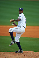 NW Arkansas Naturals pitcher Aroni Nina (16) delivers a pitch during a game against the San Antonio Missions on May 31, 2015 at Arvest Ballpark in Springdale, Arkansas.  NW Arkansas defeated San Antonio 3-1.  (Mike Janes/Four Seam Images)
