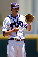 Pitcher Preston Morrison #18 of the Texas Christian University Horned Frogs during the NCAA Regional baseball game against the Ole Miss Rebels on June 1, 2012 at Blue Bell Park in College Station, Texas. Ole Miss defeated TCU 6-2. (Andrew Woolley/Four Seam Images)