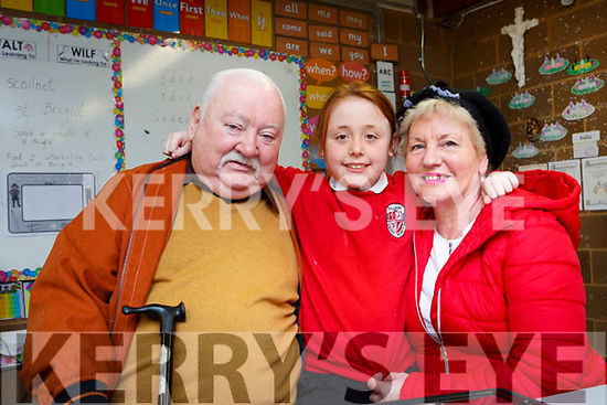 Alex Looney welcomes her grandparents Timmy and Nuala Looney to her class in Holy Cross Mercy NS Killarney on Friday