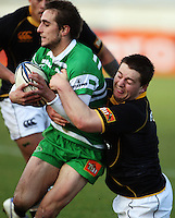 Wellington hooker Dane Coles tackles Andre Taylor during the Air NZ Cup preseason match between Manawatu Turbos and Wellington Lions at FMG Stadium, Palmerston North, New Zealand on Friday, 17 July 2009. Photo: Dave Lintott / lintottphoto.co.nz