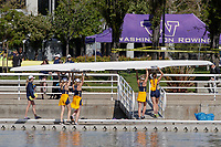 Redwood Shores, CA - April 2, 2017:  Cal Women's Crew competes in the 2017 Pac-12 Challenge.  Cal Women's Varsity 4+: Rachel Lether (Coxswain), Katherine Armstrong, Sam Lamos, Tara O'Reily, Hailey Drangsholt (Bow).