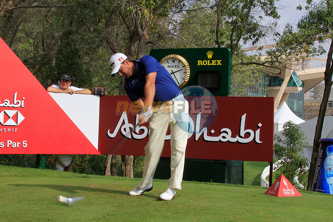 Graeme McDowell tees off on the 10th tee during Day 3 Saturday of the Abu Dhabi HSBC Golf Championship, 22nd January 2011..(Picture Eoin Clarke/www.golffile.ie)
