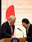 Australian Prime Minister Kevin Rudd and his Japanese counterpart Yukio Hatoyama share a joke as Japan foreign minister Katsuya Okada looks on during a meeting at the Japanese prime minister's offices in Tokyo, Japan on Tuesday Dec. 15 2009..Photographer: Robert Gilhooly.
