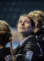 Glasgow. SCOTLAND. Russian &quot;Vice Skip&quot;, Uliana VASILEVA,  look's up at the big screen, during the introduction of the semi finalist, at the Le Gruy&egrave;re European Curling Championships. 2016 Venue, Braehead  Scotland.<br /> <br /> Friday  25/11/2016<br /> <br /> [Mandatory Credit; Peter Spurrier/Intersport-images]