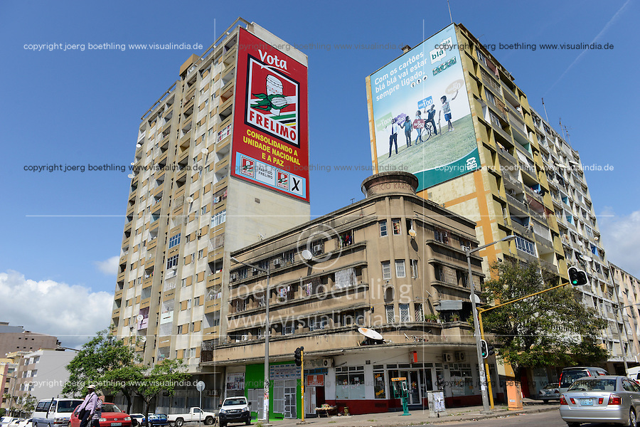 MOZAMBIQUE, Maputo, election poster for FRELIMO party , FRELIMO is the former movement for independance and today party in power / MOSAMBIK, Maputo, Wahlplakat der FRELIMO, FRELIMO ist die ehemalige mosambikanische nationale Befreiungsbewegung und heute amtierende Regierungspartei