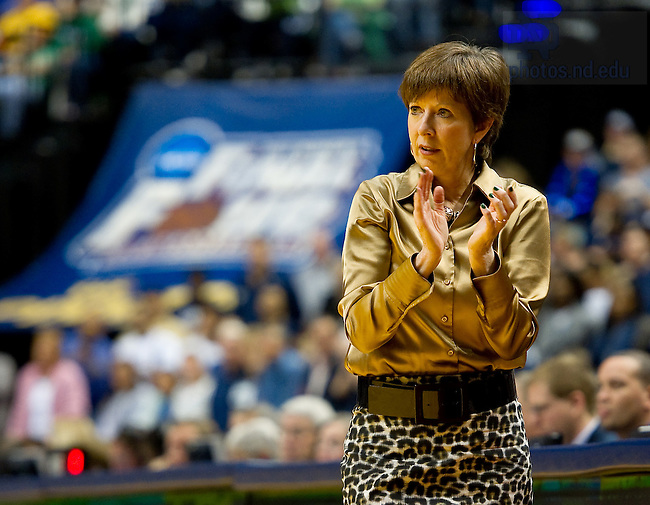 Apr. 3, 2011; Head Women's Basketball Coach Muffet McGraw watches from the bench against UConn in the Final Four at Conseco Fieldhouse in Indianapolis...Photo by Matt Cashore/University of Notre Dame