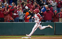 NWA Democrat-Gazette/BEN GOFF @NWABENGOFF<br /> Dominic Fletcher, Arkansas center fielder, runs the bases after hitting a 2 RBI home run in the 3rd inning vs LSU Thursday, May 9, 2019, at Baum-Walker Stadium in Fayetteville.