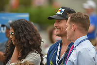 Matthew Mcconaughey watches Kevin Kisner (USA) and Bubba Watson (USA) warm up on the range before their championship match during day 5 of the World Golf Championships, Dell Match Play, Austin Country Club, Austin, Texas. 3/25/2018.<br /> Picture: Golffile | Ken Murray<br /> <br /> <br /> All photo usage must carry mandatory copyright credit (© Golffile | Ken Murray)