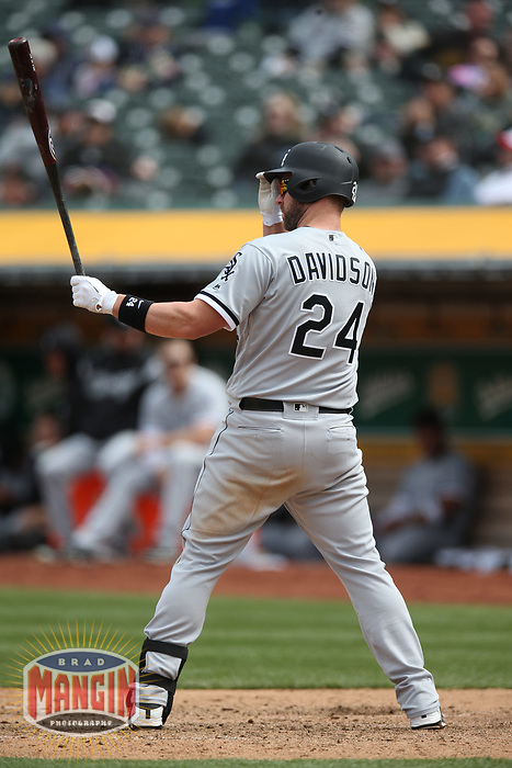 OAKLAND, CA - APRIL 18:  Matt Davidson #24 of the Chicago White Sox bats against the Oakland Athletics during the game at the Oakland Coliseum on Wednesday, April 18, 2018 in Oakland, California. (Photo by Brad Mangin)