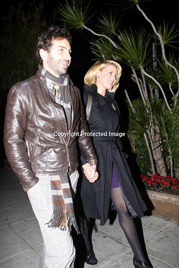 12-23-08.Katherine Heigl and husband Josh Kelley celebrating their one year  Wedding Anniversary for Dinner at Matsuhisa Restaurant in Beverly Hills. Josh had a little present hidden in the car before they both left together from there home....AbilityFilms@yahoo.com.805-427-3519.www.AbilityFilms.com