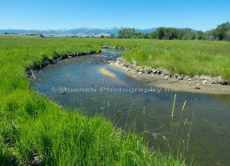 South Willow Creek with the Tobacco Root Mountains distant,Montana