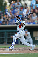 Yusniel Diaz (21) of the Rancho Cucamonga Quakes bats against the Inland Empire 66ers at San Manuel Stadium on July 29, 2017 in San Bernardino, California. Inland Empire defeated Rancho Cucamonga, 6-4. (Larry Goren/Four Seam Images)