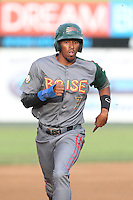 Rashad Crawford #7 of the Boise Hawks runs the bases during a game against the Everett AquaSox at Everett Memorial Stadium on July 22, 2014 in Everett, Washington. Everett defeated Boise, 6-0. (Larry Goren/Four Seam Images)