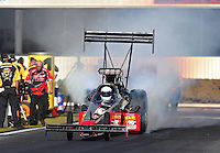 Nov 11, 2016; Pomona, CA, USA; NHRA top fuel driver Shawn Reed during qualifying for the Auto Club Finals at Auto Club Raceway at Pomona. Mandatory Credit: Mark J. Rebilas-USA TODAY Sports