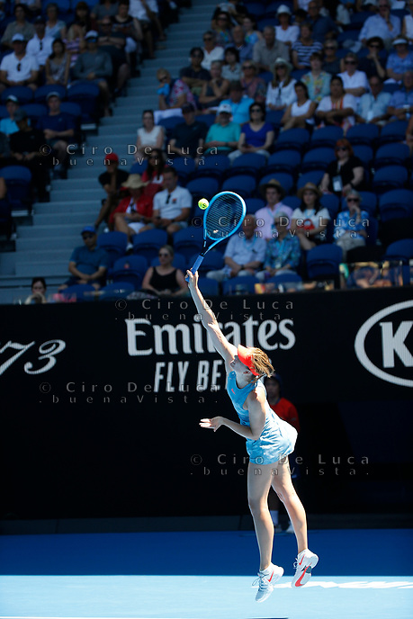 14th January 2019, Melbourne Park, Melbourne, Australia; Australian Open Tennis, day 1; <br /> Maria Sharapova of Russia serve the ball in the match against Harriet Dart of Great Britain