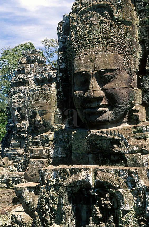 Bayon Temple with large stone faces. Angkor, Cambodia.