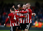 Lys Mousset of Sheffield Utd celebrates with Oli McBurnie of Sheffield Utd during the Premier League match at Bramall Lane, Sheffield. Picture date: 9th February 2020. Picture credit should read: Simon Bellis/Sportimage