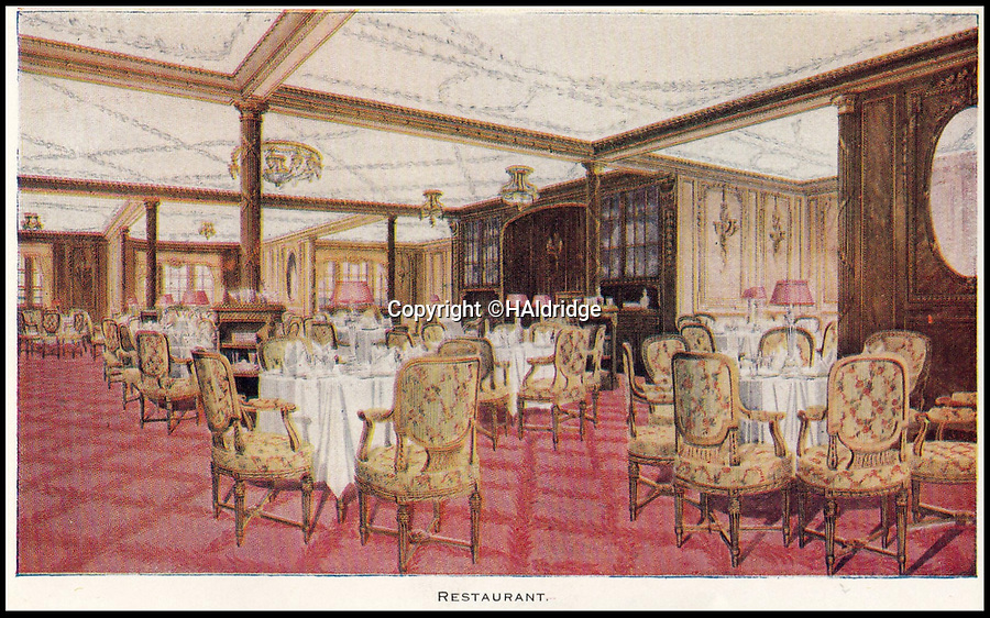 BNPS.co.uk (01202 558833)<br /> Pic: HAldridge/BNPS<br /> <br /> A restaurant on the Titanic.<br /> <br /> A rare holiday brochure for the Titanic has surfaced after 106 years.<br /> <br /> The brochure was specifically aimed at rich first and second class passengers and contained colourful images of the most luxurious parts of the doomed liner.<br /> <br /> It walked the reader through different parts of the 'unsinkable' ship, from the opulent reception room, to the Louis XVI period designed restaurant and the promenade deck.<br /> <br /> The sumptuous state rooms that cost the equivalent of £40,000 to stay in, are featured in the fascinating brochure as is the famous grand staircase that featured heavily in the 1997 movie starring Kate Winslet.