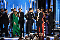 Accepting the Golden Globe for BEST MOTION PICTURE &ndash; ANIMATED for &quot;Spider-Man: Into the Spider-Verse&quot; is Phil Lord and Chris Miller at the 76th Annual Golden Globe Awards at the Beverly Hilton in Beverly Hills, CA on Sunday, January 6, 2019.<br /> *Editorial Use Only*<br /> CAP/PLF/HFPA<br /> Image supplied by Capital Pictures