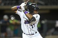 Winston-Salem Dash designated hitter Micker Adolfo (27) at bat against the Lynchburg Hillcats at BB&T Ballpark on May 1, 2018 in Winston-Salem, North Carolina. The Dash defeated the Hillcats 9-0. (Brian Westerholt/Four Seam Images)