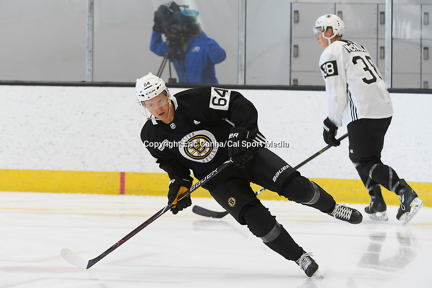 June 26, 2018: Boston Bruins defenseman Victor Berglund (64) skates during the Boston Bruins development camp held at Warrior Ice Arena in Brighton Mass. Eric Canha/CSM