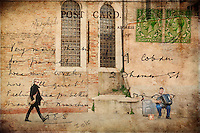 Textured photograph using vintage postcard