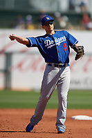 Los Angeles Dodgers shortstop Corey Seager (5) during a Cactus League Spring Training game against the Texas Rangers on March 8, 2020 at Surprise Stadium in Surprise, Arizona. Rangers defeated the Dodgers 9-8. (Tracy Proffitt/Four Seam Images)