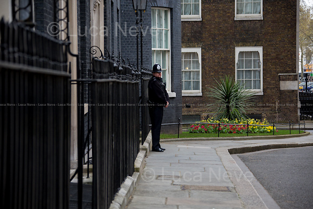 """London, 22/04/2016. The President of the United States of America, Barack Obama, meets the British Prime Minister David Cameron at 10 Downing Street during the second day of a three-day State visit to the UK. Amongst the topics of the bilateral talks: the Anglo-American efforts to combat ISIS, the Migrants Crisis, the """"Special Relationship"""" between the two Countries, and the so called Brexit, in other words the upcoming referendum hold the 23rd of June 2016 over whether the UK should remain in the European Union. Barack Obama released his point of view of the Brexit on an article written for British newspaper The Telegraph (21st of April 2016) that you can find here: http://www.telegraph.co.uk/news/2016/04/21/as-your-friend-let-me-tell-you-that-the-eu-makes-britain-even-gr/"""