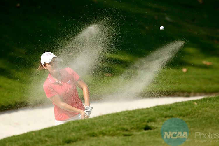 21 MAY 2010:  Jennifer Johnson of Arizona State University hits out of the sand during the Division I Women's Golf Championship held at the Country Club of Landfall-Dye Course in Wilmington, NC.  Johnson placed second with a -8 score.  Jamie Schwaberow /NCAA Photos
