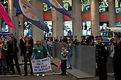 """Kiev, Ukraine.May 21, 2005 ..Anti- government protesters outside the Eurovision hall in Kiev, demand their rights after the country was swept away by the """"Orange Revolution"""", that brought the current President Victor Yushchenko to power..."""