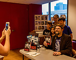 "July 26, 2017. Raleigh, North Carolina.<br /> <br /> Alan Gratz posed for a photo with (left to right) Daniel, Juliana, Abigail and Talmage Andros. <br /> <br /> Author Alan Gratz spoke about and signed his new book ""Refugee"" at Quail Ridge Books. The young adult fiction novel contrasts the stories of three refugees from different time periods, a Jewish boy in 1930's Germany , a Cuban girl in 1994 and a Syrian boy in 2015."