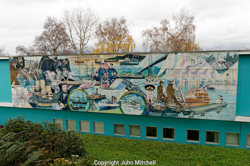 Mural by Frank Lewis depicting the maritime history of Vancouver, Vancouver Maritime Museum, Vancouver, BC, Canada