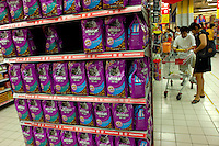 Whiskas pet foods are on sale in a Carrefour supermarket in Beijing, China. Major international chains like Carrefour and Walmart Stores have expanded aggressively in China. Local Chinese retailers have loudly protested this and lobbied heavily for protection from the new competition in price and service that these major retailers have set off..22 Jul 2006