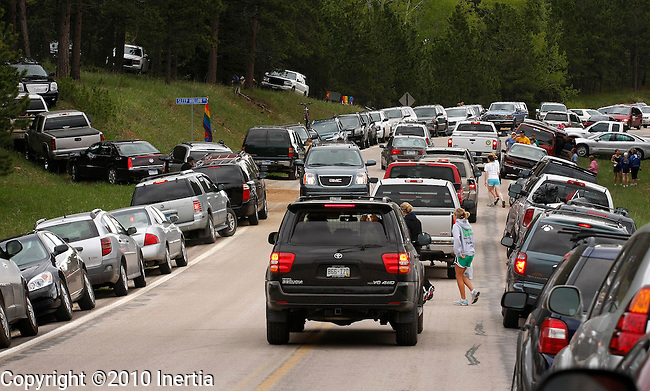 DEADWOOD, SD - JUNE 6 : Cars crowd along north Rochford Road near Sleep Hollow Lane for the start of the Deadwood Mickelson Trail Half-Marathon Sunday. More than 2000 registered for the full and half-marathon races in the Northern Black Hills. (Photo by Dick Carlson/Inertia)