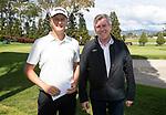 Fraser Wilkin  with Paul Adams. Jennian Homes Charles Tour, Carrus Open, Tauranga Golf Club, Tauranga, New Zealand, Thursday 10 October 2019. Photo John Borren/www.bwmedia.co.nz