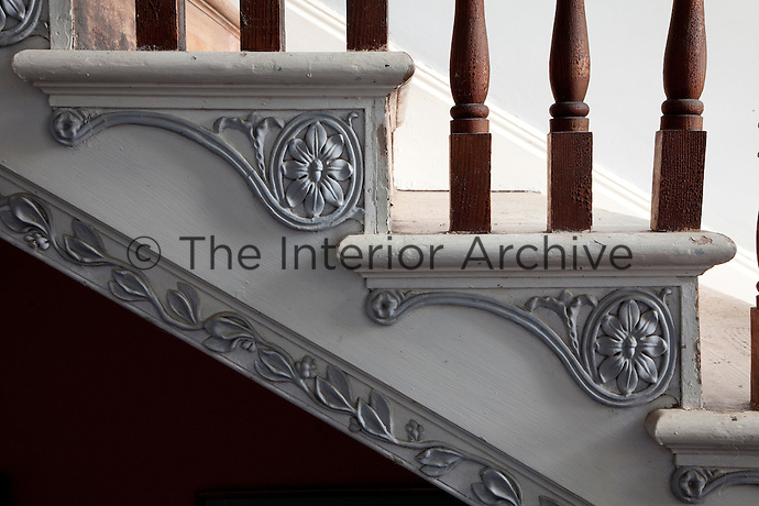 Detail of the staircase's foliate decoration