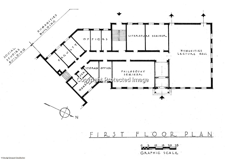 Pittsburgh PA: An Ingham, Boyd and Pratt first floor drawing of the new Humanities building at the Pennsylvania College for Women's campus. Ingham, Boyd and Pratt Architect's various designs were submitted from 1948 through 1952 with construction starting in 1953. Pennsylvania College for Women was renamed Chatham College in 1955.