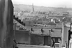 Derry Northern Ireland Londonderry. 1979. The two Cathederals in this photo are St. Columbs Catederal to the left, which is the mother Church of the Church of Ireland, and St. Eugenes Roman Catholic Cathederal to the Right.