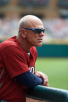 Lehigh Valley IronPigs coach John Mizerock (7) during a game against the Columbus Clippers on May 12, 2016 at Huntington Park in Columbus, Ohio.  Lehigh Valley defeated Columbus 2-1.  (Mike Janes/Four Seam Images)